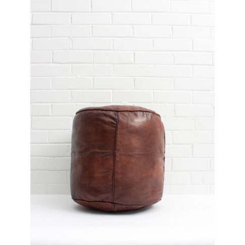 Bohemia Design | Moroccan Leather Plain Drum Pouffe,...