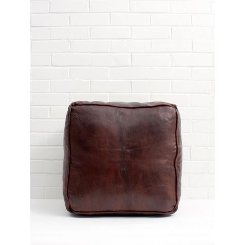 Bohemia Design | Moroccan Leather Plain Square Pouff...