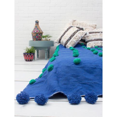 Bohemia Design | Wool Super Pom Pom Blanket, Cobalt