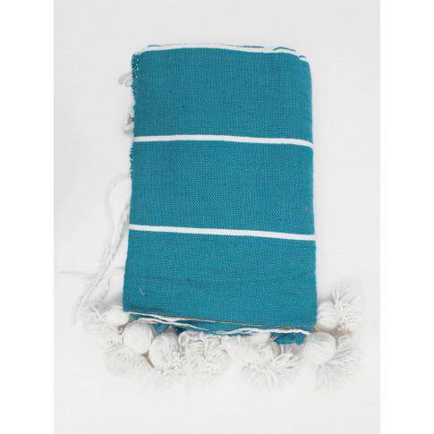 Bohemia Design   Tassel Pom Pom Blanket, Aqua
