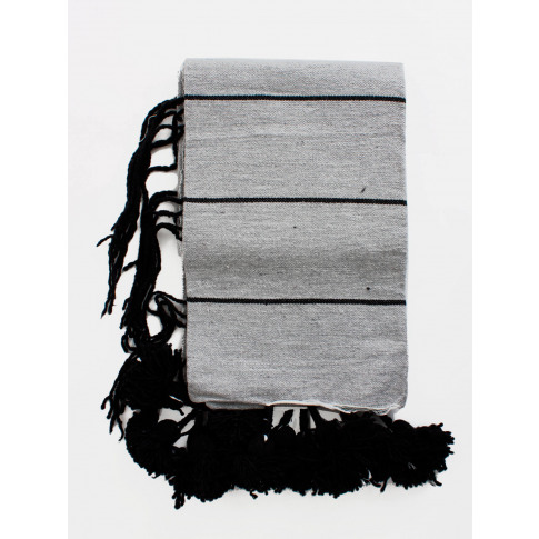 Bohemia Design | Tassel Pom Pom Blanket, Grey And Black