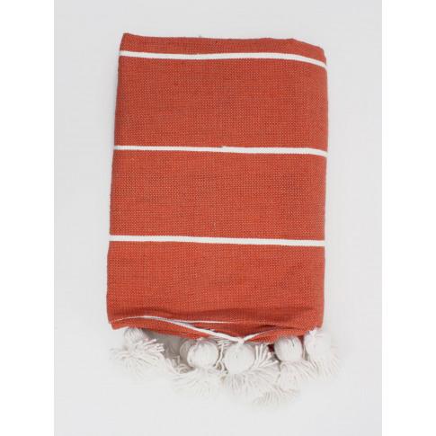 Bohemia Design | Tassel Pom Pom Blanket, Orange