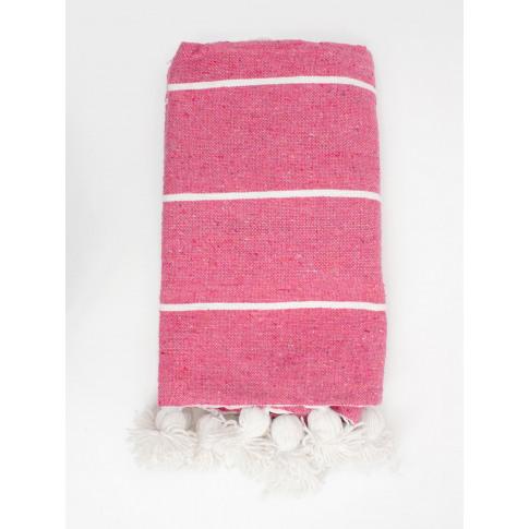 Bohemia Design   Tassel Pom Pom Blanket, Pink