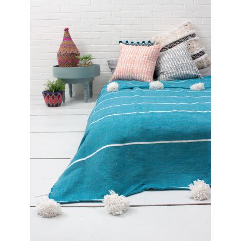 Bohemia Design | Tassel Pom Pom Blanket, Aqua