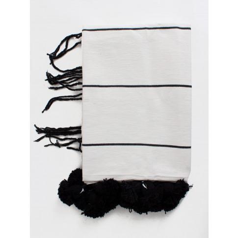 Bohemia Design | Tassel Pom Pom Blanket, White And B...