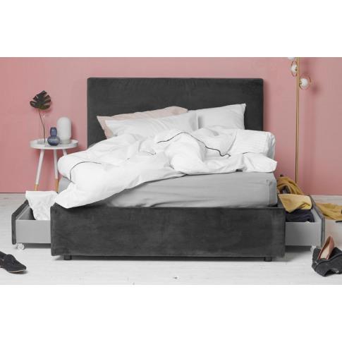 King Size 4 Drawer Storage Bed, Grey Velvet, Plain H...