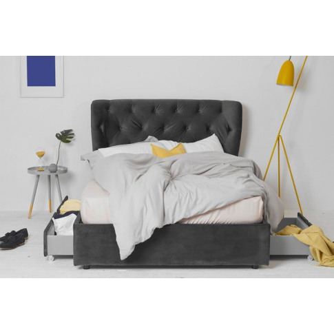 King Size 4 Drawer Storage Bed, Grey Velvet, Winged ...