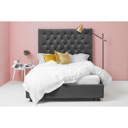 Grey Velvet Bed - Buttoned King