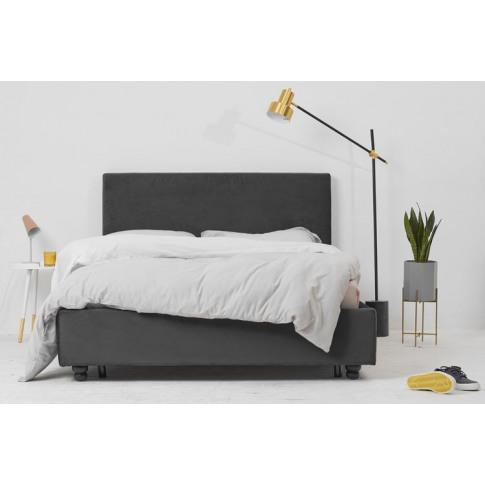 Grey Velvet Fabric Bed - Plain Double