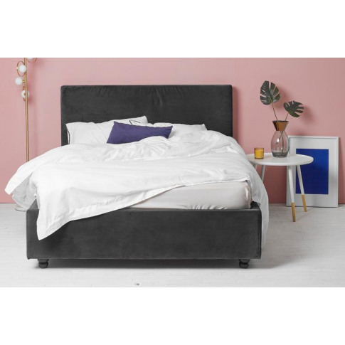 Grey Velvet Fabric Ottoman Bed - Plain Double