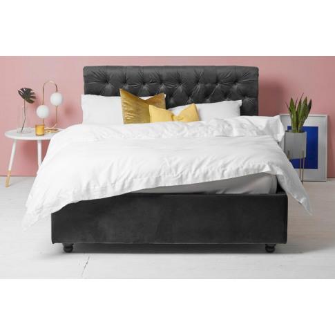 Grey Velvet Fabric Ottoman Bed - Scroll Sleigh Double