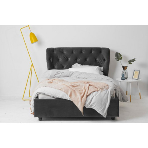 Grey Velvet Fabric Ottoman Bed - Winged Double
