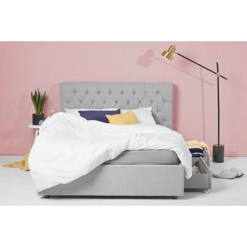 King Size 4 Drawer Storage Bed, Grey Fabric, Sleigh ...