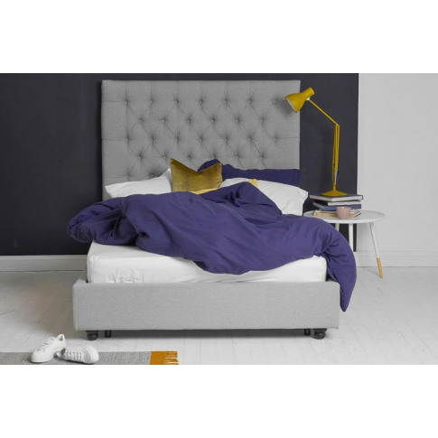 Double Bed, Grey Fabric, Buttoned Headboard