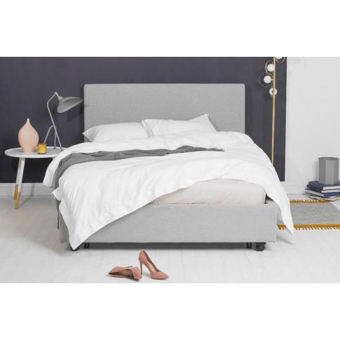 Light Grey Fabric Bed - Plain King