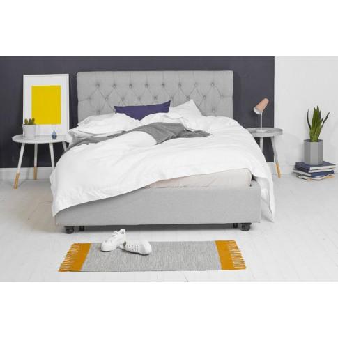Grey Fabric Bed - Scroll Sleigh King