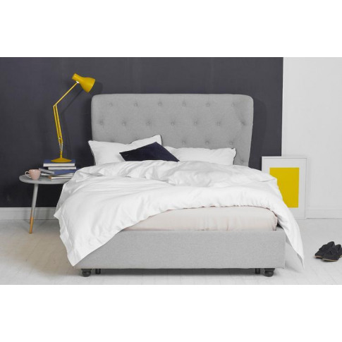 King Size Bed Frame Grey Fabric, Winged Headboard