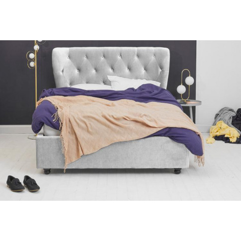 Silver Velvet Fabric Ottoman Bed - Winged Double