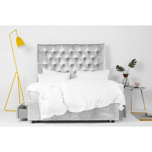 King Size 4 Drawer Storage Bed, Silver Velvet, Buttoned Headboard