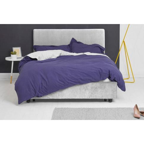 Silver Velvet Fabric Bed - Plain King