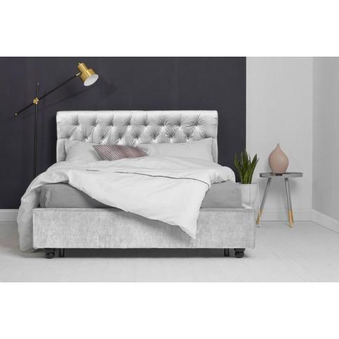 Silver Velvet Fabric Bed - Scroll Sleigh King