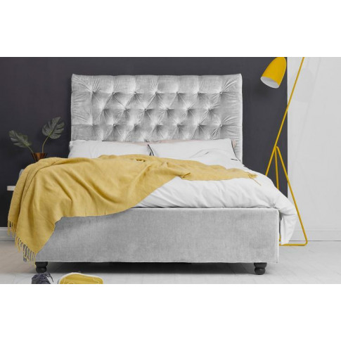 Silver Velvet Fabric Ottoman Bed - Buttoned Double