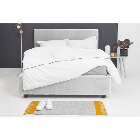 Silver Velvet Fabric Ottoman Bed - Plain King