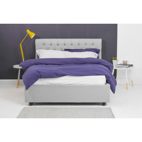 Grey Fabric Ottoman Bed - Scroll Sleigh Double