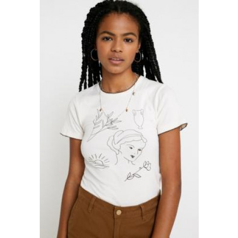 Uo Scribble T-Shirt - White M At Urban Outfitters