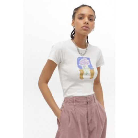 Uo Flower Vase Baby T-Shirt - White S At Urban Outfi...