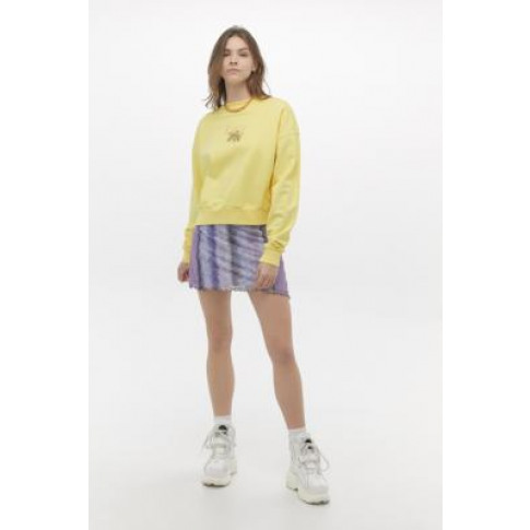 Lazy Oaf Flower Vase Crew Neck Sweatshirt - Yellow L At Urban Outfitters