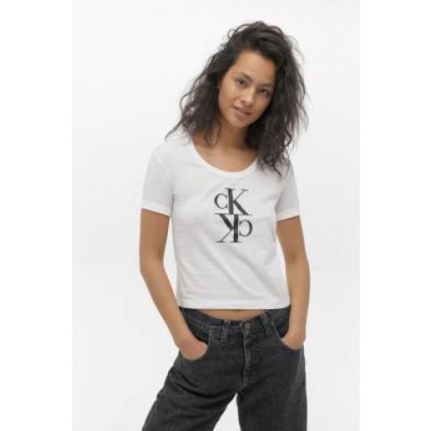 Calvin Klein Mirror Monogram Logo T-Shirt - White L ...