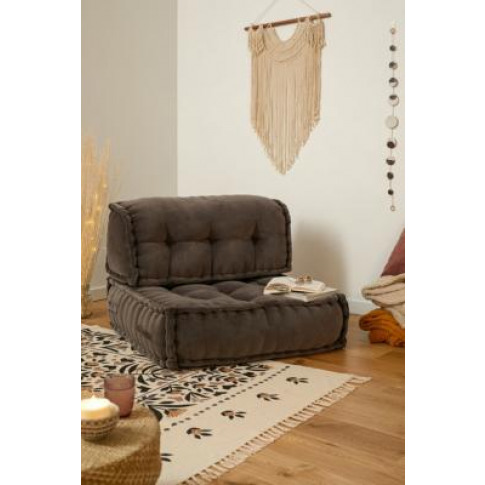 Reema Dark Grey Velvet Back Cushion - Grey At Urban Outfitters