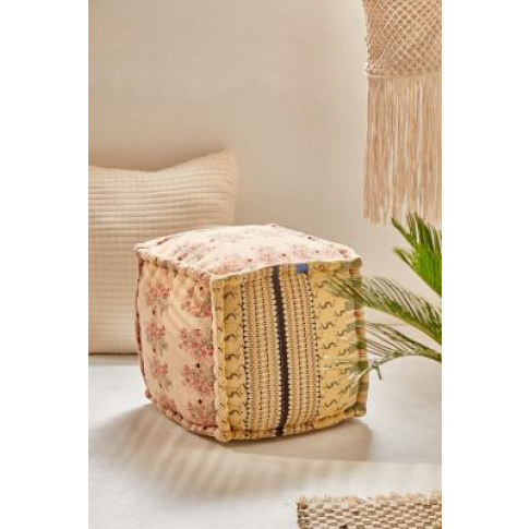 Lekha Patchwork Cube Pouf - Yellow All At Urban Outf...