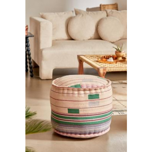 Maude Striped Round Pouf - Assorted All At Urban Out...