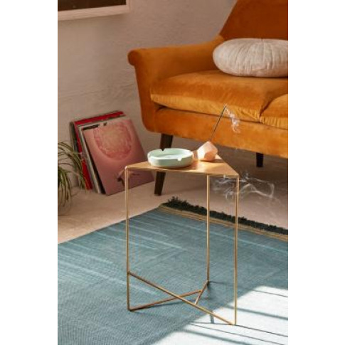 Triangle Side Table - Gold All At Urban Outfitters