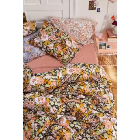 Mila Floral Black Duvet Cover Set With Reusable Fabr...
