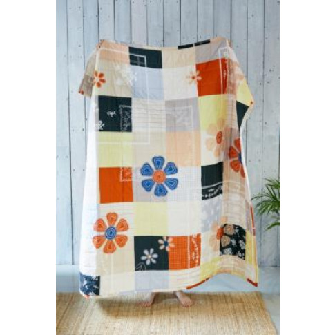 Rina Patchwork Throw Quilt - Orange All At Urban Outfitters