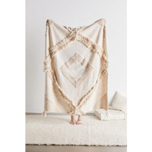 Aden Tufted Throw Blanket - Beige All At Urban Outfitters
