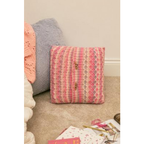 Stripe Knit Throw Cushion - Pink At Urban Outfitters