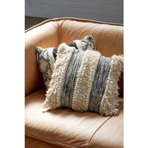 Boho Tufted Striped Cushion - Black All At Urban Outfitters