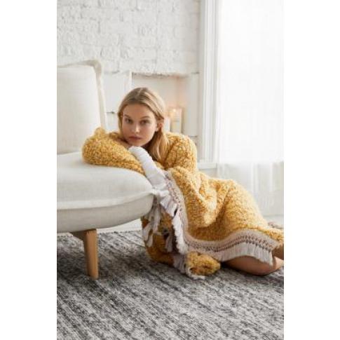 Amped Fleece Fringe Trim Throw Blanket - Gold At Urb...