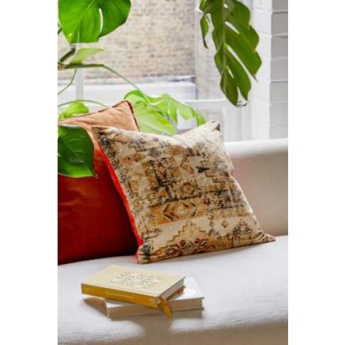 Ellis Velvet Cushion - Orange All At Urban Outfitters