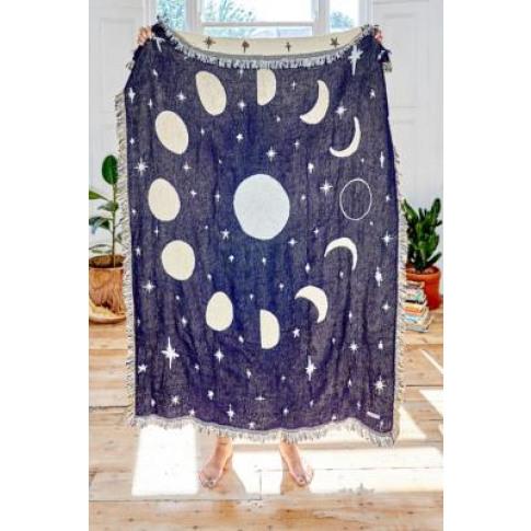 Calhoun & Co. Moon Phases Throw Blanket - Blue All A...