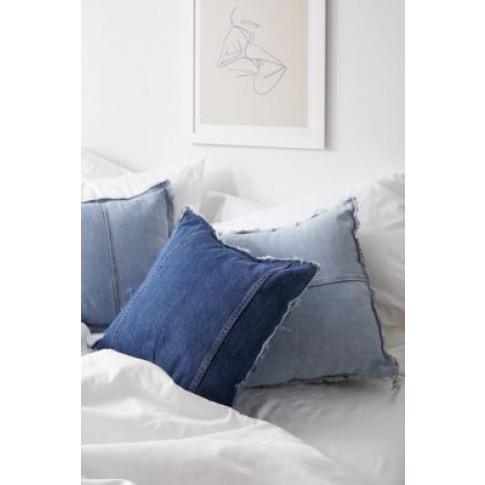 Repurposed Denim Raw Edge Throw Cushion - Blue At Ur...