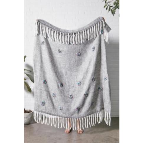 Embellished Grey Throw Blanket - Grey All At Urban O...