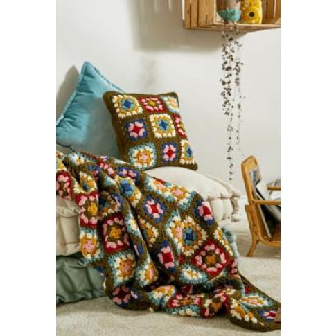 Green Floral Handmade Crochet Blanket - Green At Urb...