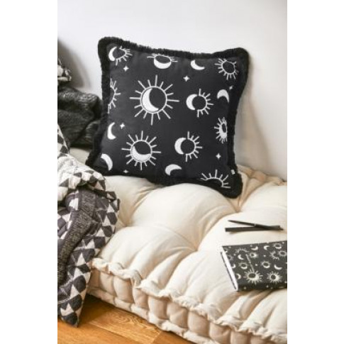 Sun And Moon Cushion - Black All At Urban Outfitters