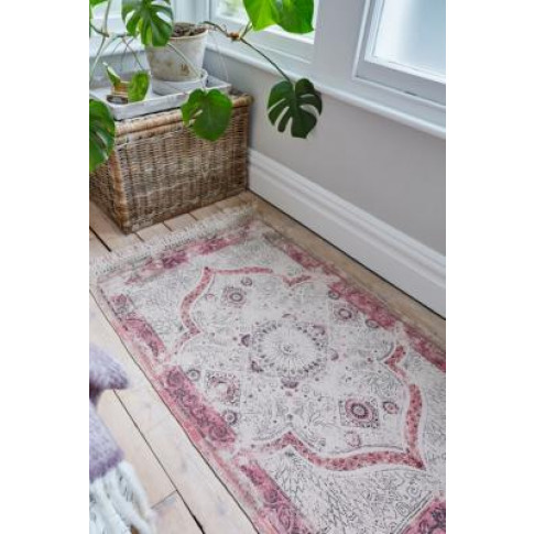Iona Dotted Pink Medallion Print 3x5 Rug - Pink All ...