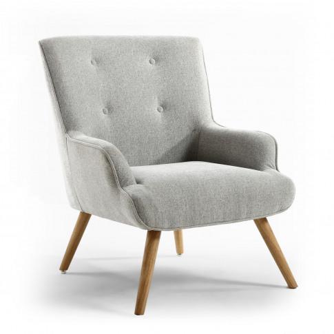 Upholstered Armchair In Silver Grey Fabric - Shankar